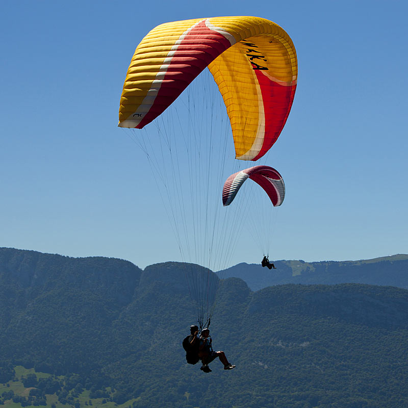 Aerial photography of paragliding in the alps