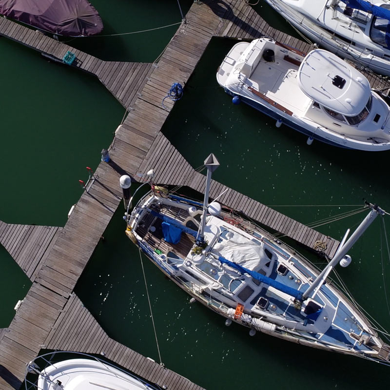 Aerial photography of boats in a UK marina