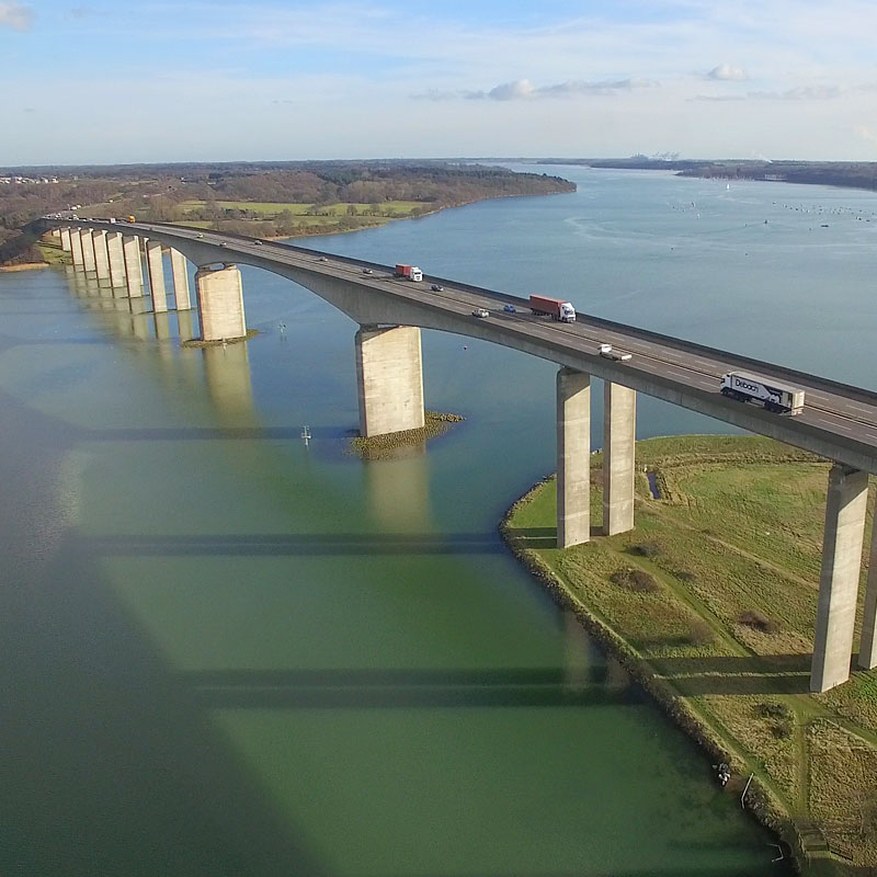 Aerial photography of the Orwell Bridge in Ipswich, Suffolk