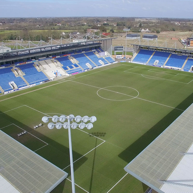 Aerial photograph of Colchester United football stadium in Essex