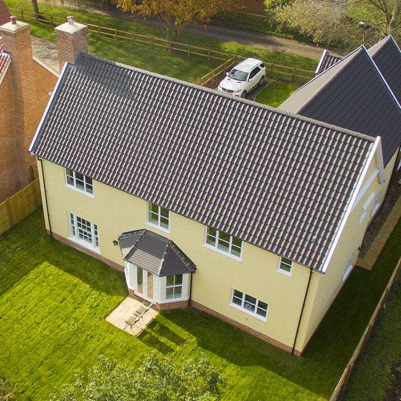 Aerial photography of a new build housing development in Suffolk