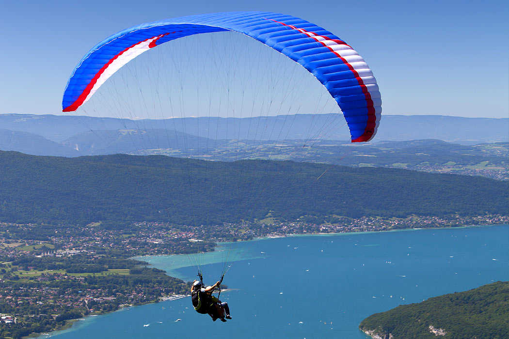 Aerial photography of paragliding in the French Alps