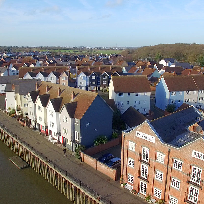 Aerial photography of a new quayside residential development in Wivenhoe, Essex